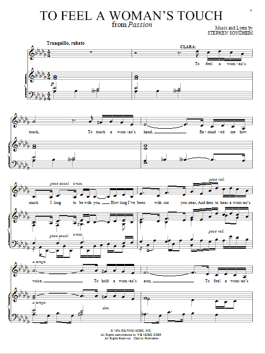 Download Stephen Sondheim To Feel A Woman's Touch sheet music and printable PDF score & Broadway music notes