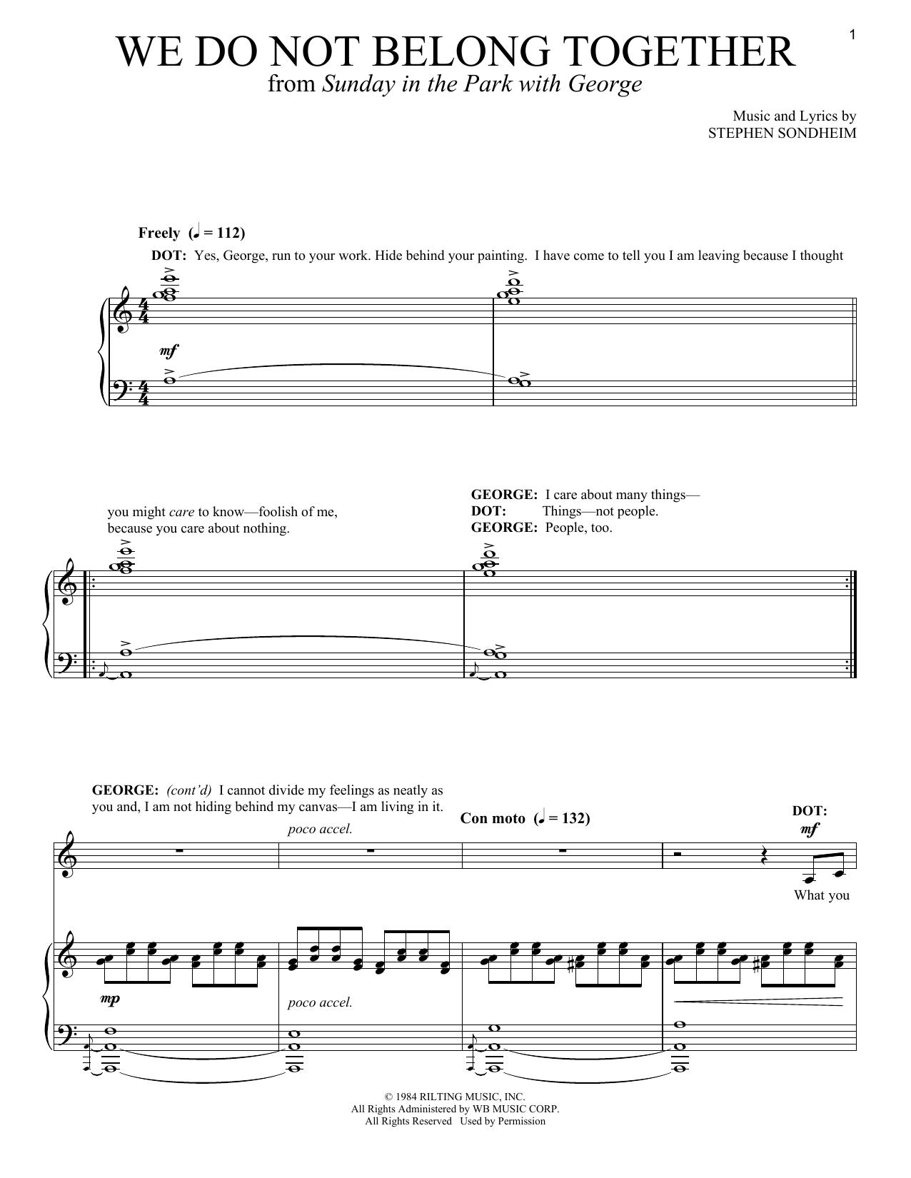 Download Stephen Sondheim We Do Not Belong Together sheet music and printable PDF score & Broadway music notes