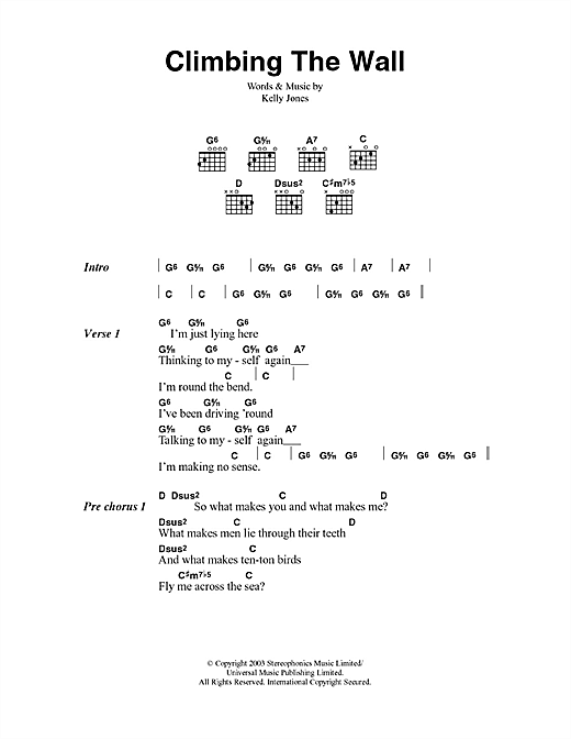 Download Stereophonics Climbing The Wall sheet music and printable PDF score & Rock music notes
