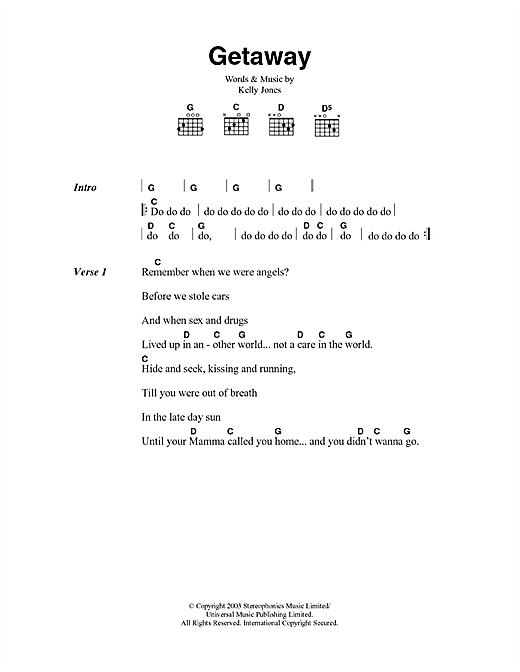 Download Stereophonics Getaway sheet music and printable PDF score & Rock music notes
