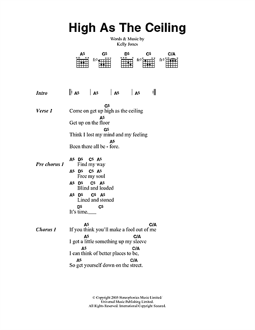 Download Stereophonics High As The Ceiling sheet music and printable PDF score & Rock music notes