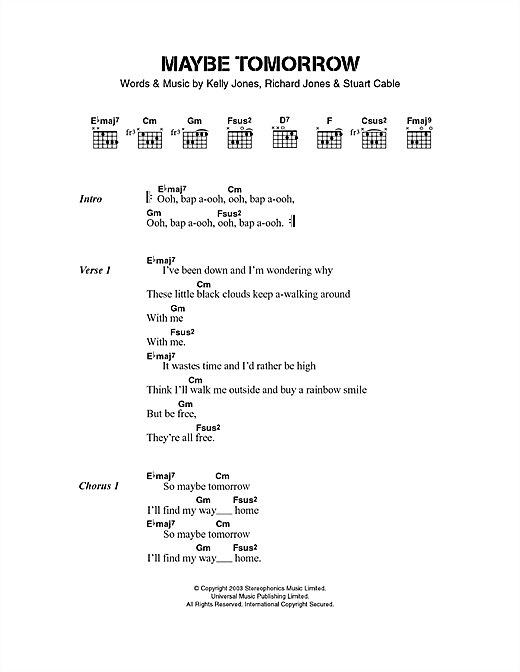 Download Stereophonics Maybe Tomorrow sheet music and printable PDF score & Rock music notes