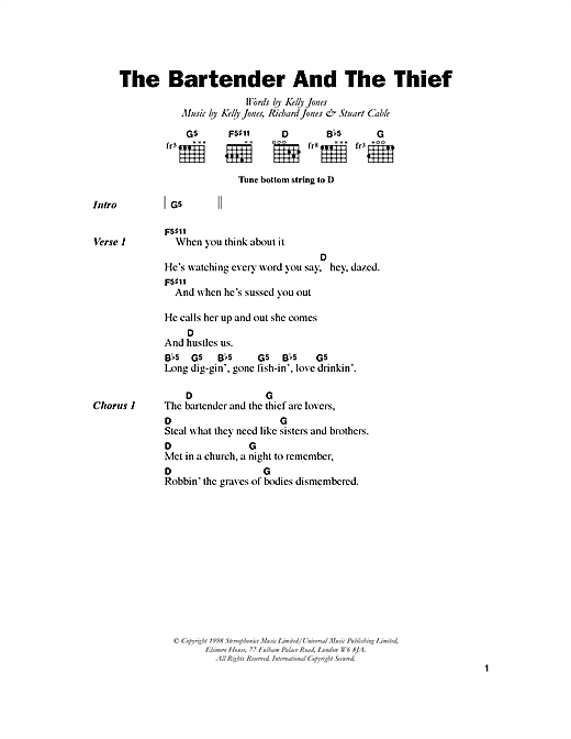 Download Stereophonics The Bartender And The Thief sheet music and printable PDF score & Rock music notes