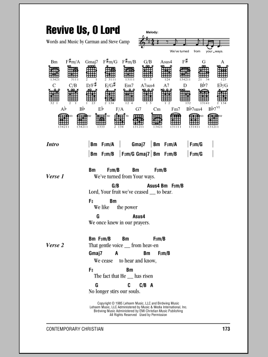 Download Steve Camp Revive Us, O Lord sheet music and printable PDF score & Pop music notes