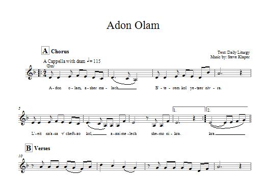 Download Steve Klaper Adon Olam sheet music and printable PDF score & Religious music notes