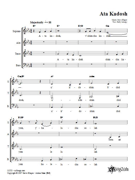 Download Steve Klaper Ata Kadosh sheet music and printable PDF score & Spiritual music notes