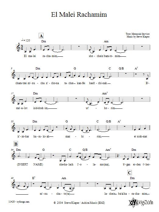 Download Steve Klaper El Malei Rachamim sheet music and printable PDF score & Religious music notes