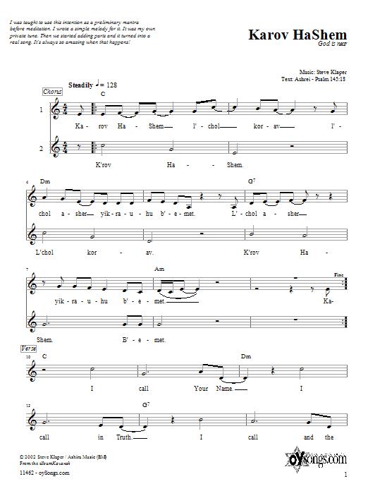 Download Steve Klaper Karov HaShem sheet music and printable PDF score & Religious music notes