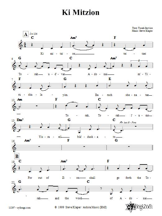 Download Steve Klaper Ki Mitzion sheet music and printable PDF score & Religious music notes