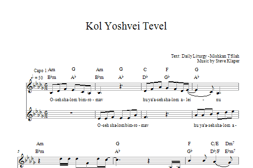 Download Steve Klaper Kol Yoshvei Tevel sheet music and printable PDF score & Religious music notes