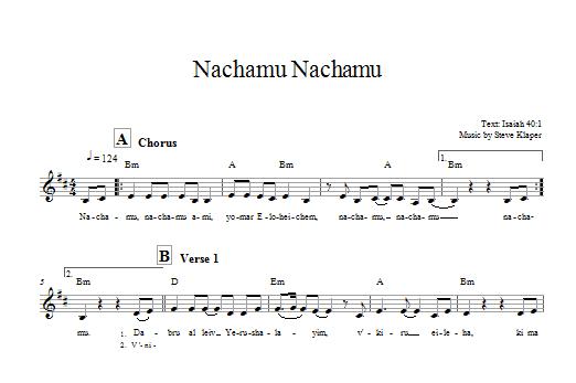 Download Steve Klaper Nachamu Nachamu sheet music and printable PDF score & Religious music notes