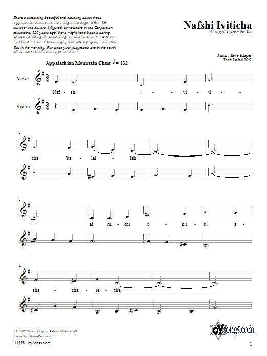 Download Steve Klaper Nafshi Iviticha sheet music and printable PDF score & Spiritual music notes