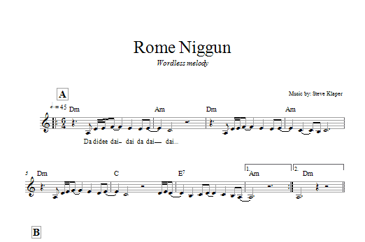 Download Steve Klaper Rome Niggun sheet music and printable PDF score & Religious music notes