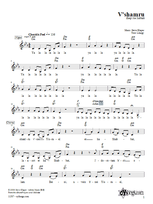 Download Steve Klaper V'shamru sheet music and printable PDF score & Religious music notes