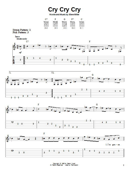 Download Steve Miller Band Cry Cry Cry sheet music and printable PDF score & Rock music notes