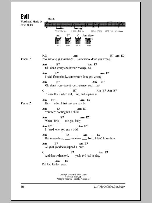 Download Steve Miller Band Evil sheet music and printable PDF score & Rock music notes