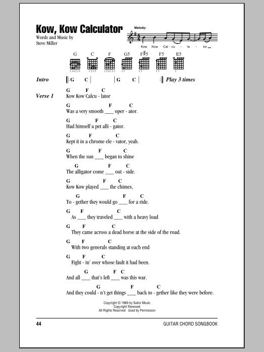 Download Steve Miller Band Kow, Kow Calculator sheet music and printable PDF score & Rock music notes