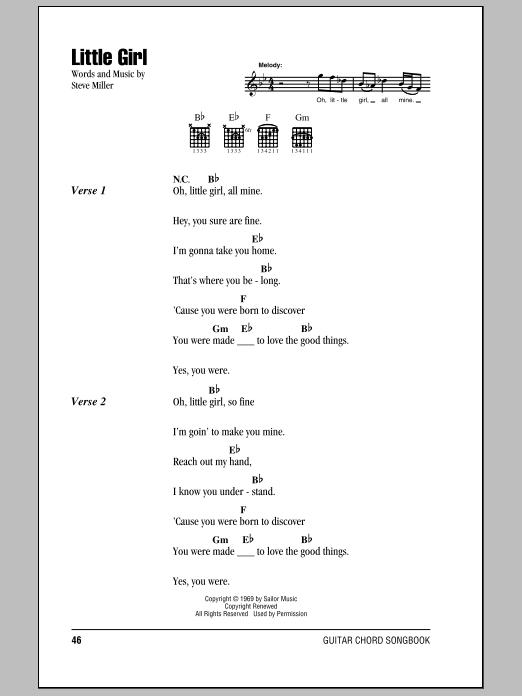 Download Steve Miller Band Little Girl sheet music and printable PDF score & Rock music notes