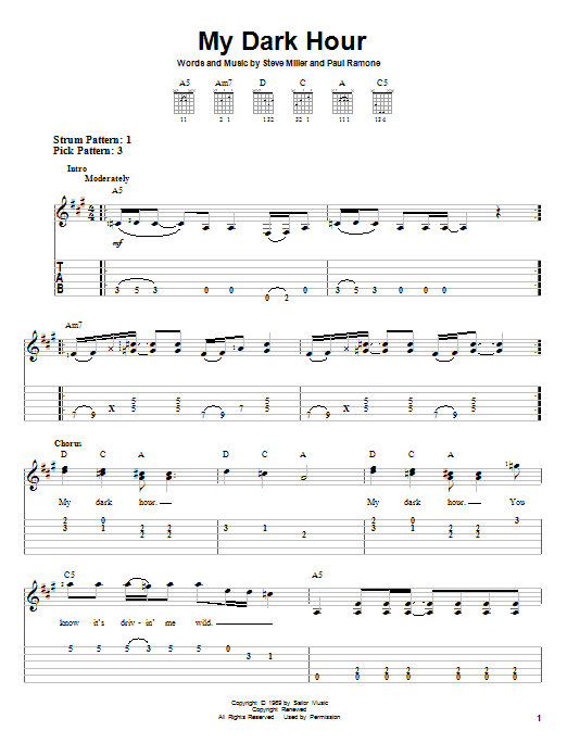 Download Steve Miller Band My Dark Hour sheet music and printable PDF score & Rock music notes