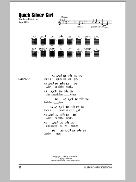 Download Steve Miller Band Quick Silver Girl sheet music and printable PDF score & Rock music notes