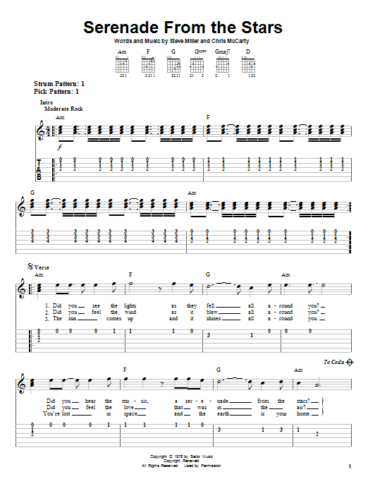 Download Steve Miller Band Serenade From The Stars sheet music and printable PDF score & Rock music notes