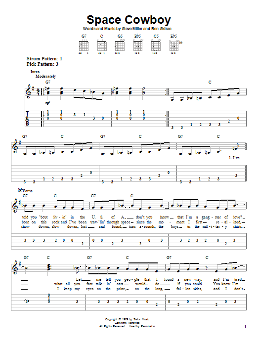 Download Steve Miller Band Space Cowboy sheet music and printable PDF score & Rock music notes