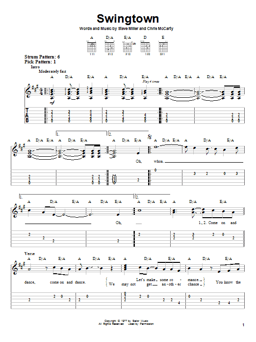 Download Steve Miller Band Swingtown sheet music and printable PDF score & Rock music notes