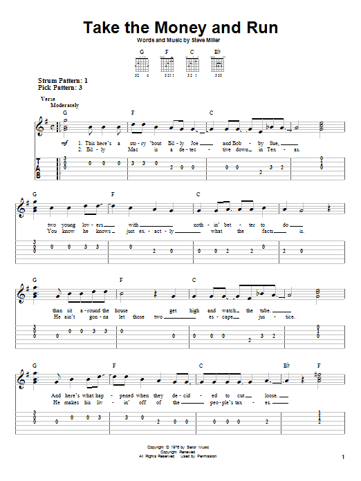 Download Steve Miller Band Take The Money And Run sheet music and printable PDF score & Rock music notes