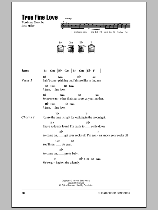 Download Steve Miller Band True Fine Love sheet music and printable PDF score & Rock music notes