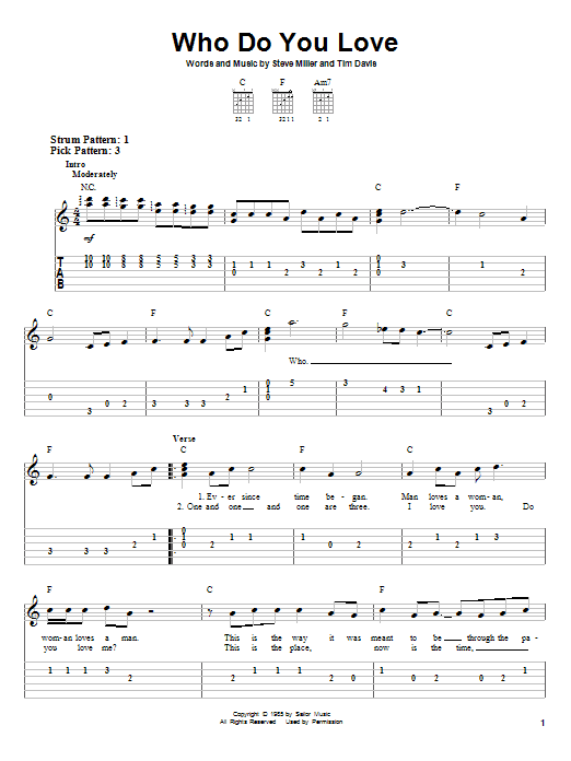 Download Steve Miller Band Who Do You Love sheet music and printable PDF score & Rock music notes