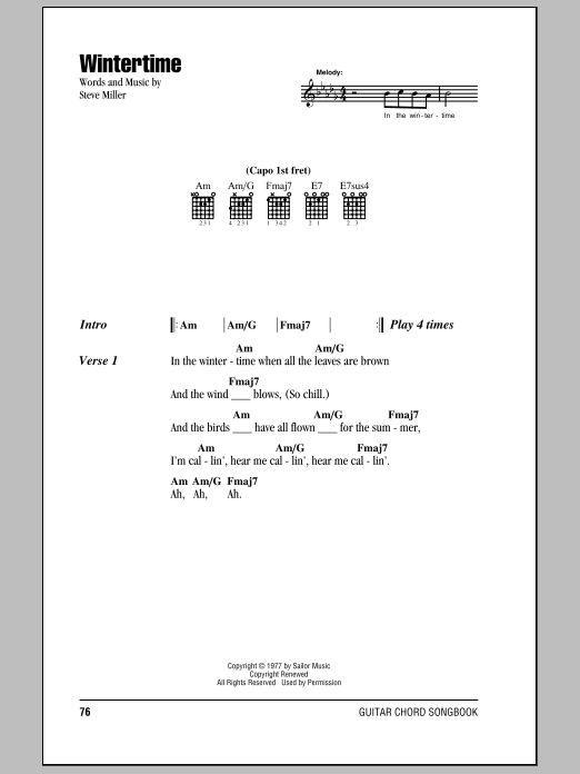 Download Steve Miller Band Wintertime sheet music and printable PDF score & Rock music notes