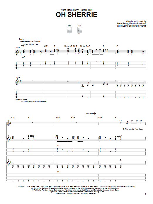 Download Steve Perry Oh Sherrie sheet music and printable PDF score & Pop music notes