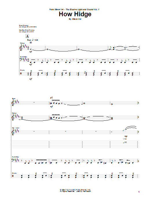 Download Steve Vai How Hidge sheet music and printable PDF score & Pop music notes