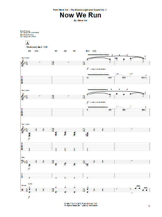 Download Steve Vai Now We Run sheet music and printable PDF score & Pop music notes