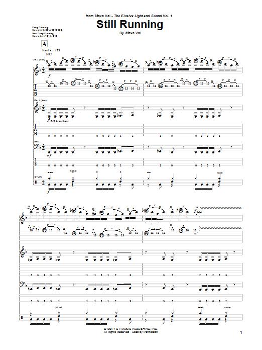 Download Steve Vai Still Running sheet music and printable PDF score & Pop music notes