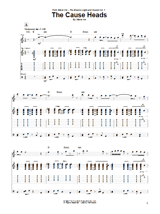 Download Steve Vai The Cause Heads sheet music and printable PDF score & Pop music notes