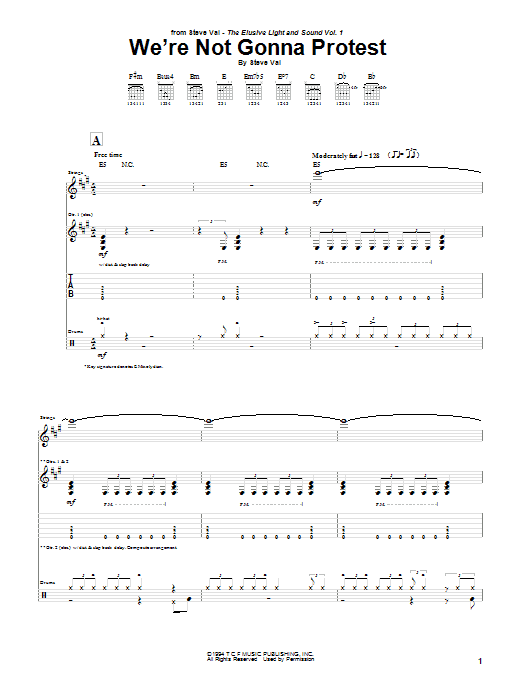 Download Steve Vai We're Not Gonna Protest sheet music and printable PDF score & Pop music notes