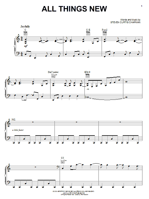 Download Steven Curtis Chapman All Things New sheet music and printable PDF score & Pop music notes