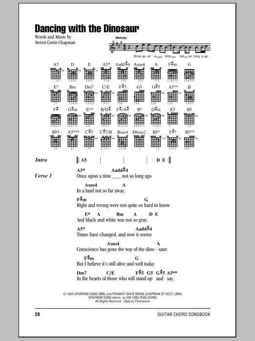 Download Steven Curtis Chapman Dancing With The Dinosaur sheet music and printable PDF score & Pop music notes