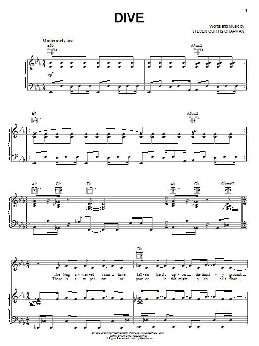 Download Steven Curtis Chapman Dive sheet music and printable PDF score & Pop music notes