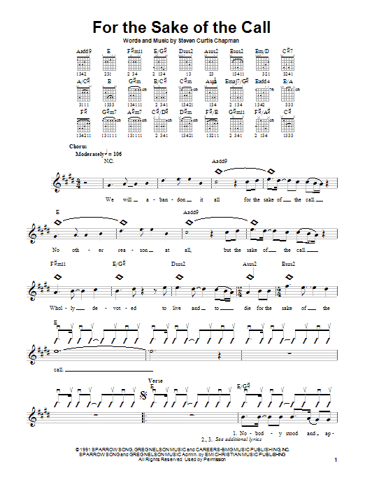 Download Steven Curtis Chapman For The Sake Of The Call sheet music and printable PDF score & Pop music notes