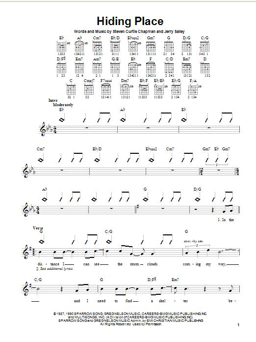 Download Steven Curtis Chapman Hiding Place sheet music and printable PDF score & Pop music notes