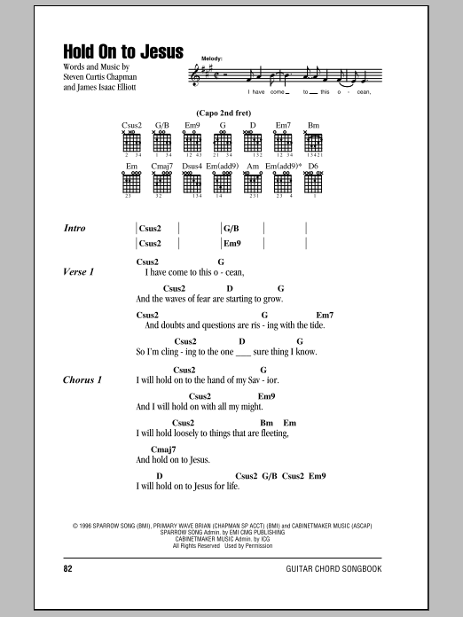 Download Steven Curtis Chapman Hold On To Jesus sheet music and printable PDF score & Pop music notes