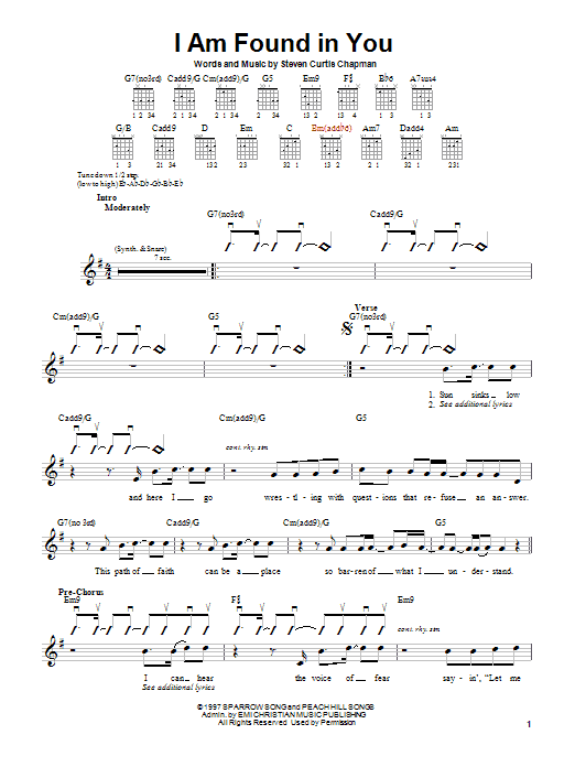 Download Steven Curtis Chapman I Am Found In You sheet music and printable PDF score & Pop music notes