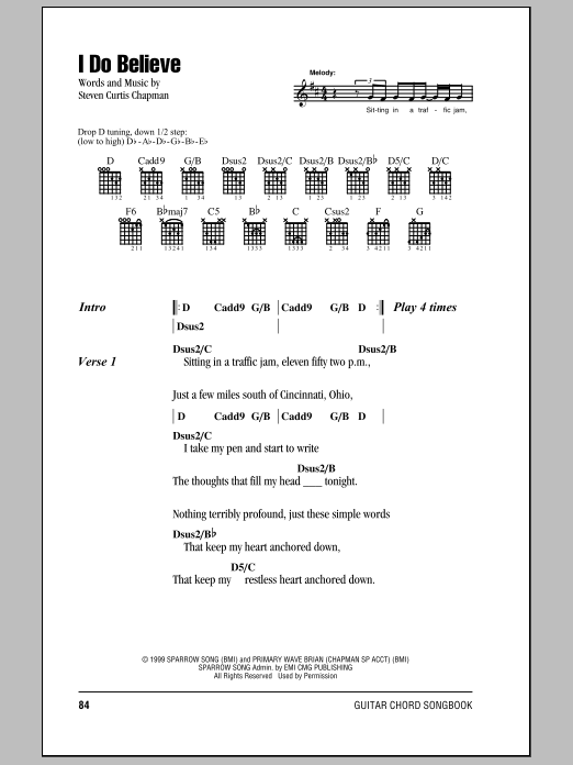 Download Steven Curtis Chapman I Do Believe sheet music and printable PDF score & Pop music notes