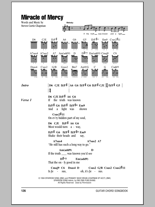 Download Steven Curtis Chapman Miracle Of Mercy sheet music and printable PDF score & Pop music notes