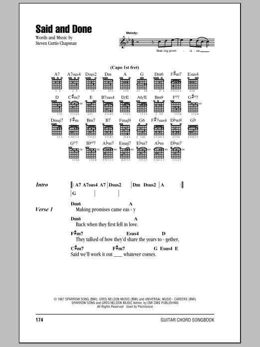 Download Steven Curtis Chapman Said And Done sheet music and printable PDF score & Pop music notes