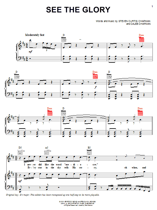 Download Steven Curtis Chapman See The Glory sheet music and printable PDF score & Pop music notes