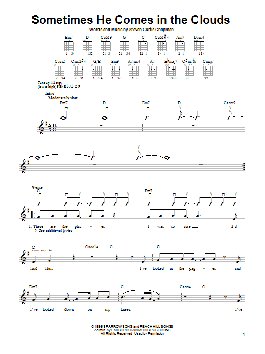 Download Steven Curtis Chapman Sometimes He Comes In The Clouds sheet music and printable PDF score & Pop music notes