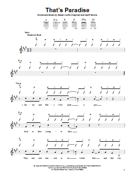 Download Steven Curtis Chapman That's Paradise sheet music and printable PDF score & Pop music notes